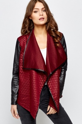 Burgundy Quilted Contrast Jacket