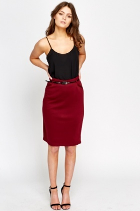 Jersey Belted Pencil Skirt
