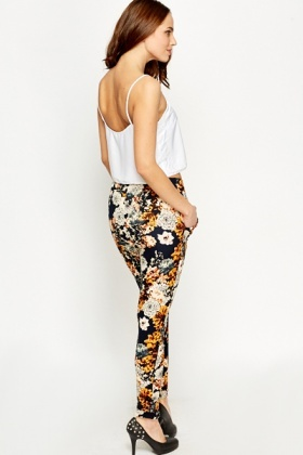 Orange Floral Printed Trousers