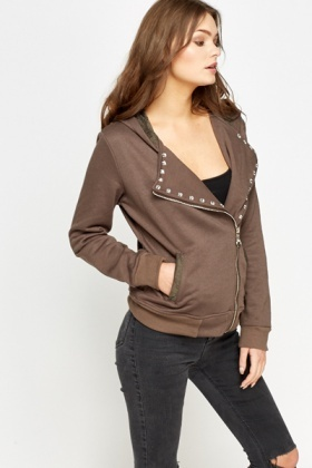 Studded Trim Hooded Jumper