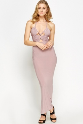 Lilac Strappy Front Cut Out Dress