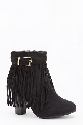 Buckle Strap Fringed Heeled Boots