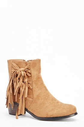 Camel Block Low Heel Boots