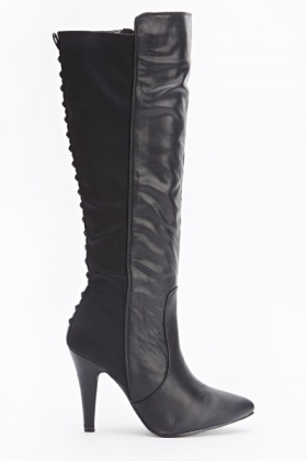 Contrast Studded Back Boots