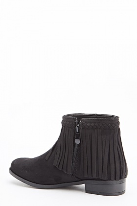 Woven Fringed Trim Boots