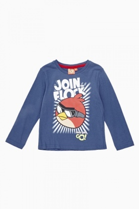 Blue Angry Birds Long Sleeve T-Shirt