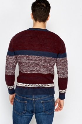 Burgundy Contrast Striped Jumper