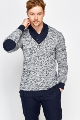 Contrast Ribbed Neck Jumper