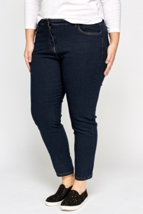 Dark Blue Cropped Jeans