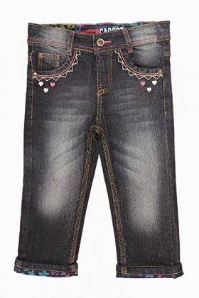Faded Heart Girls Jeans
