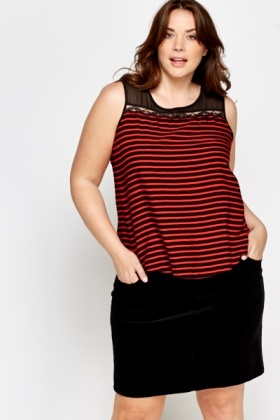 Mesh Yoke Striped Top