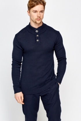 Ribbed Trim High Neck Jumper