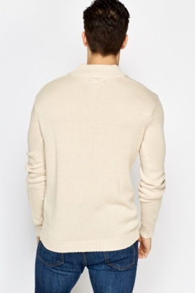 Ribbed Zip Neck Jumper