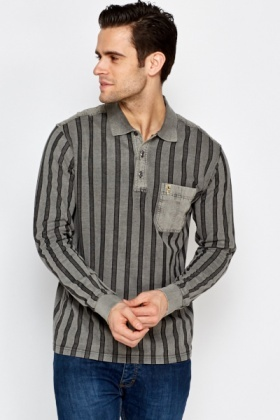 Striped Button Front Polo