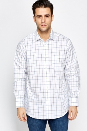 White Grid Check Cotton Shirt
