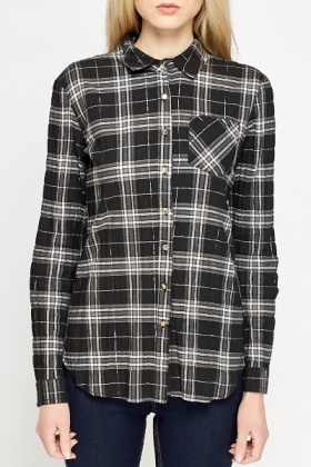 Black Metallic Check Shirt