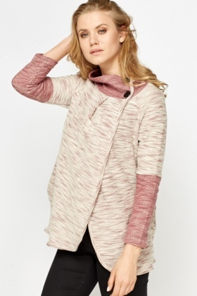 Button Neck Speckled Cardigan