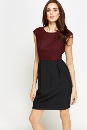 Cap Sleeve Contrast Bodice Pencil Dress