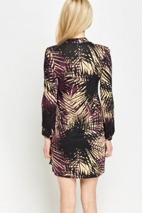 Black Multi Print Tie Neck Dress