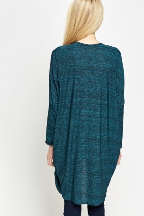 Long Speckled Open Cardigan