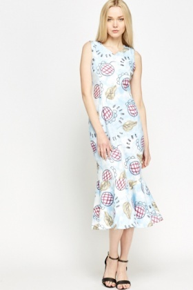 Mix Print Midi Flare Hem Dress
