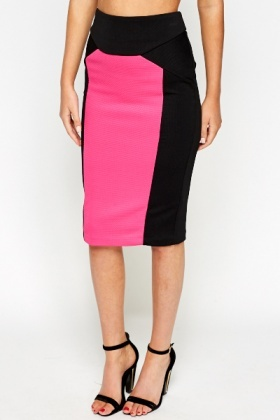 Textured Panel Bodycon Skirt
