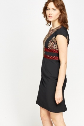 Embroidered Lace Trim Formal Dress