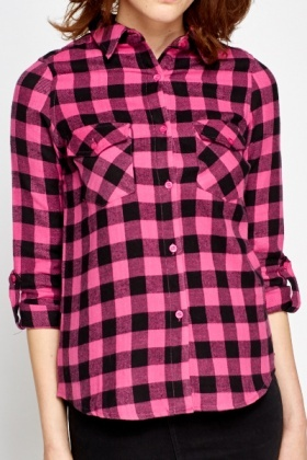 Pink Fleece Check Shirt - Just £5