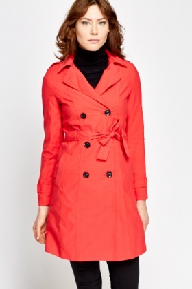 Red Long Trench Coat