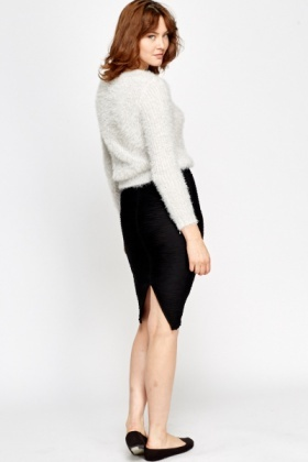 Ribbed Elasticated Pencil Skirt