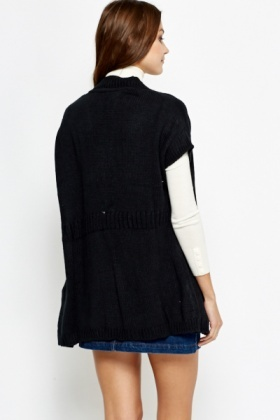 Ribbed Trim Black Knit Cardigan