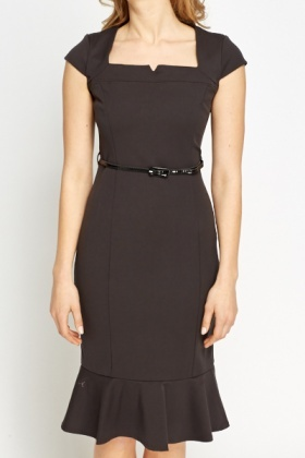 Belted Formal Flare Hem Dress