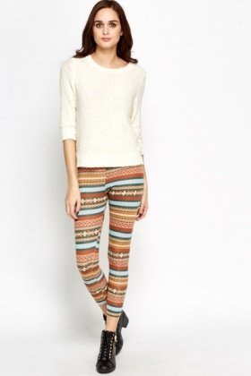 Coloured Aztec Print Leggings