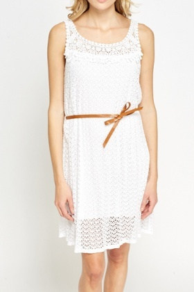 Crochet Top Belted Dress