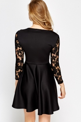 Lace Sleeve Black Skater Dress