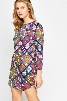 Mix Geo Print Shift Dress