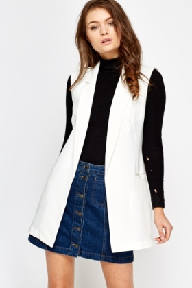 Off White Sleeveless Blazer