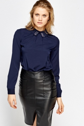 Studded Collar Navy Blouse