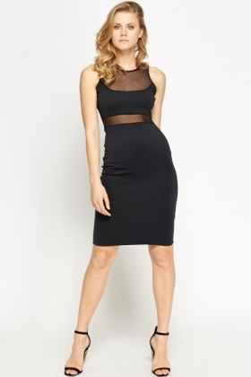 Black Contrast Panel Bodycon Dress
