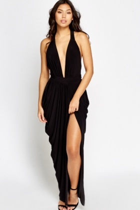 Black Plunge Ruched Slit Dress