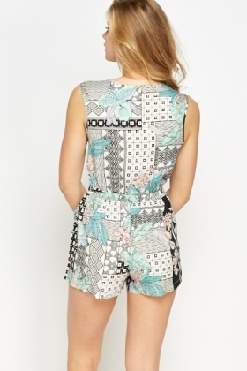 Off White Geo Print Playsuit
