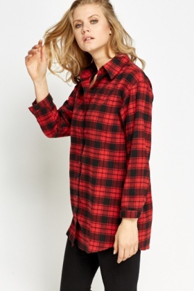 Red Checked Button Front Shirt