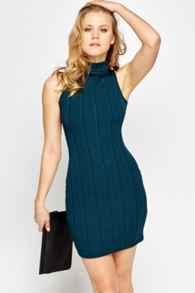 Roll Neck Textured Bodycon Dress