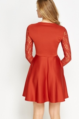 Rust Lace Front Skater Dress