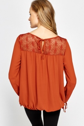 Rust Lace Top Blouse