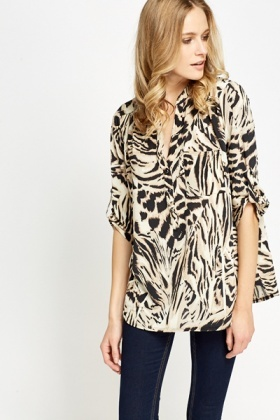 Tiger Print Casual Blouse