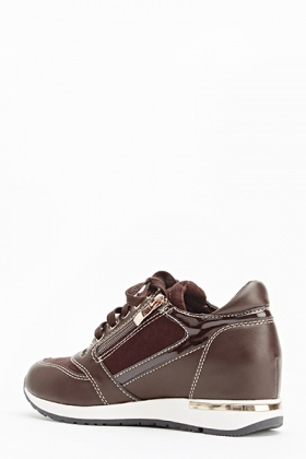 Brown Faux Leather Wedge Trainers