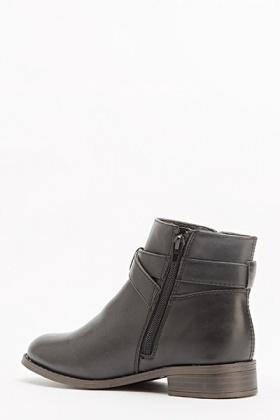 Buckle Side Black Ankle Boots