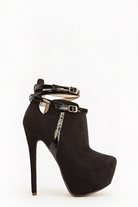 Contrast Suedette Heeled Boots