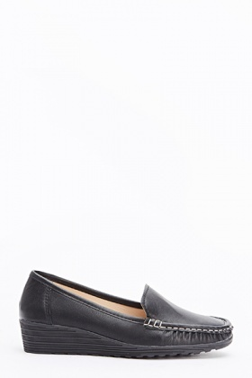 Faux Leather Wedged Loafers